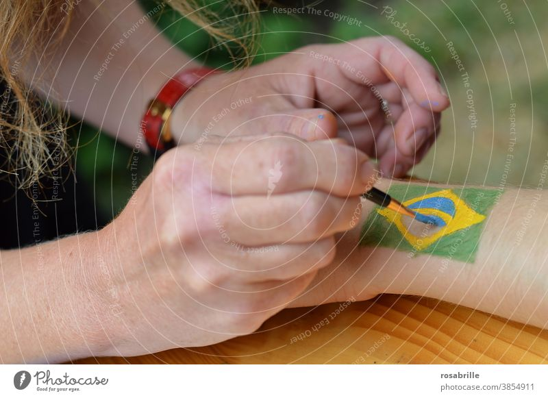 drawn & painted | flag on the arm Painting (action, artwork) Body paint Brazil nation Commitment creatively Creativity Membership Body colour Make-up