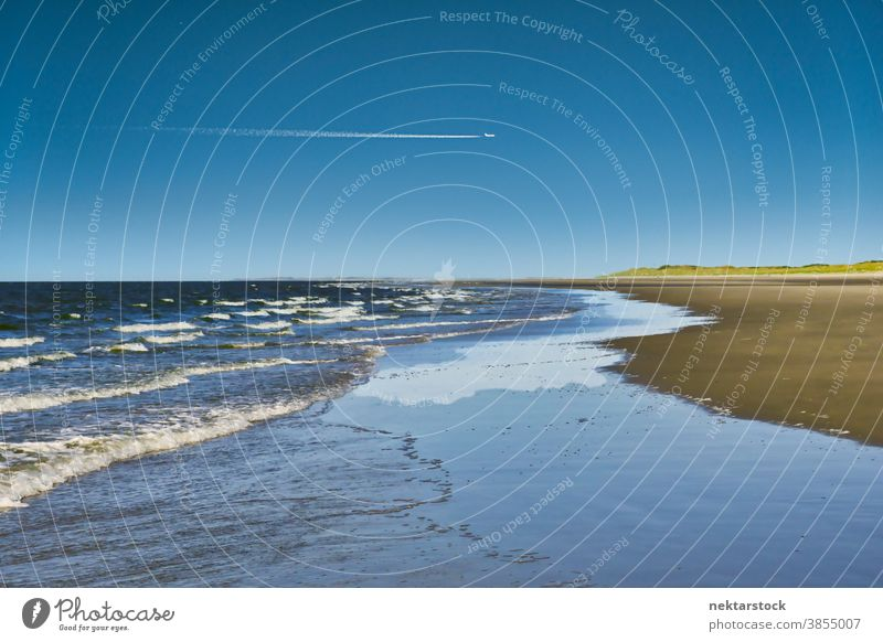 Beach with Sea Waves Rolling beach sea Langeoog wave contrail Germany cloudscape horizon vapor trail airplane horizon over water distant sun sunny good weather