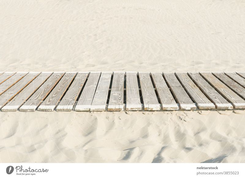 White Sand with Plank Walkway plank wood wooden walkway sand sandy pathway planked no people side view nobody vacation beach getaway even geometrical shape road
