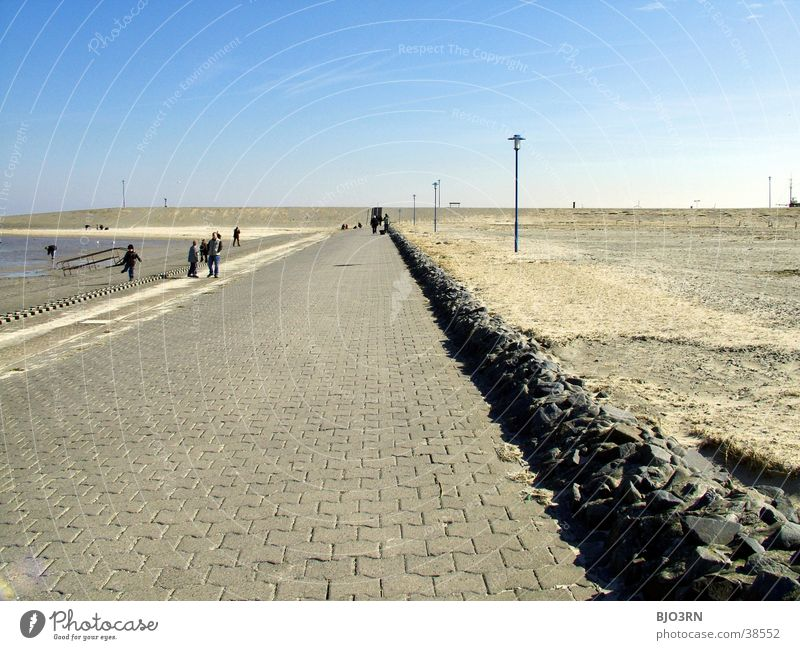 See the sea #11 - Horizon 2 Ocean Sea promenade Empty Gloomy Lamp Beach Sky Blue Stone Sand Human being