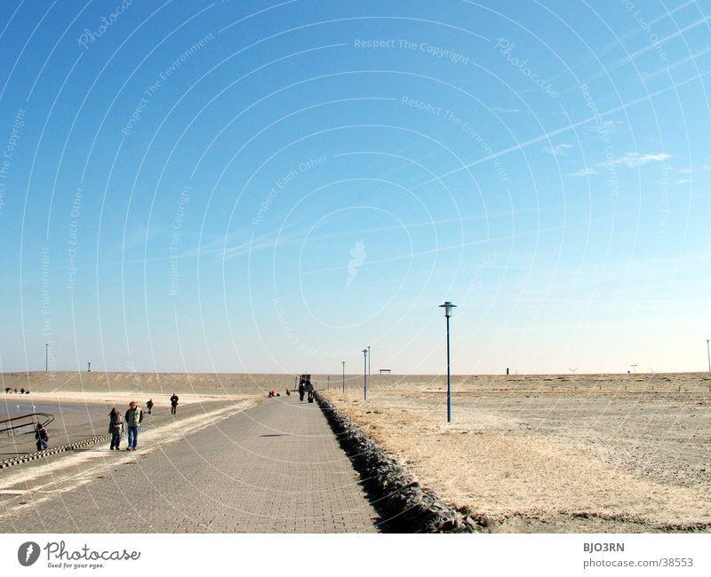 Human being Sky Ocean Blue Beach Lamp Stone Sand Horizon Empty Gloomy Sea promenade