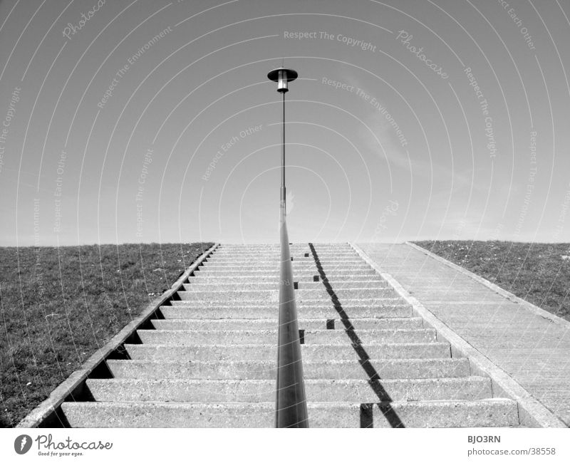 See the sea #4 - Still Life Dike Lamp Beach Clouds Grass Architecture Stairs Sky Floodlight Lawn Handrail Shadow