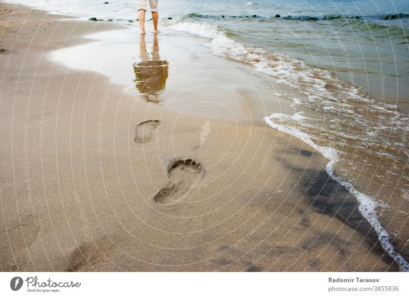 woman's footprints on the seashore leg sand water summer walk beach coast wave barefoot female lifestyle person young relax people girl nature seaside step