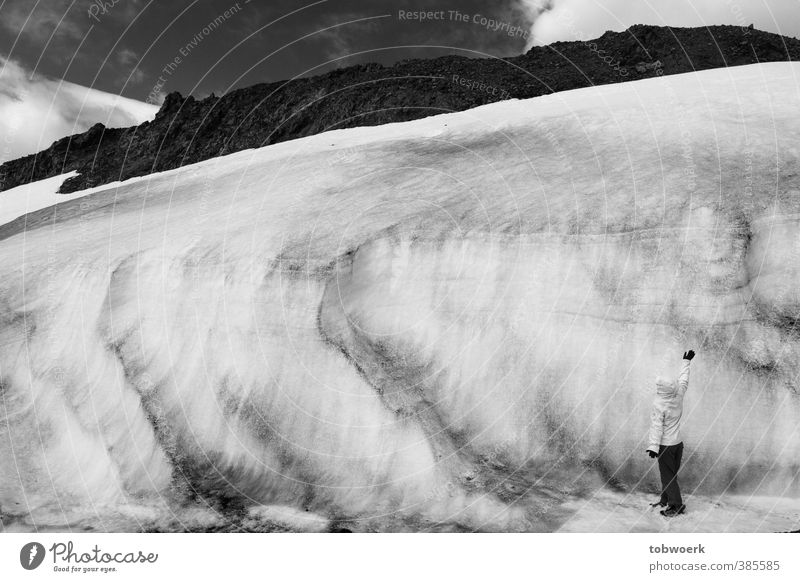 glacier dwarf Nature Elements Water Sky Winter Ice Frost Snow Rock Glacier Large Small Humble Timidity Loneliness Cold Size Human being Force of nature