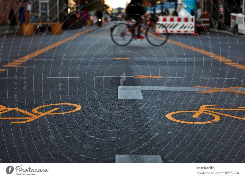 Bicycle in the pedestrian zone Friedrichstraße, Berlin Asphalt Corner Lane markings Cycle path Clue edge Curve Line Left navi Navigation Orientation Arrow Wheel