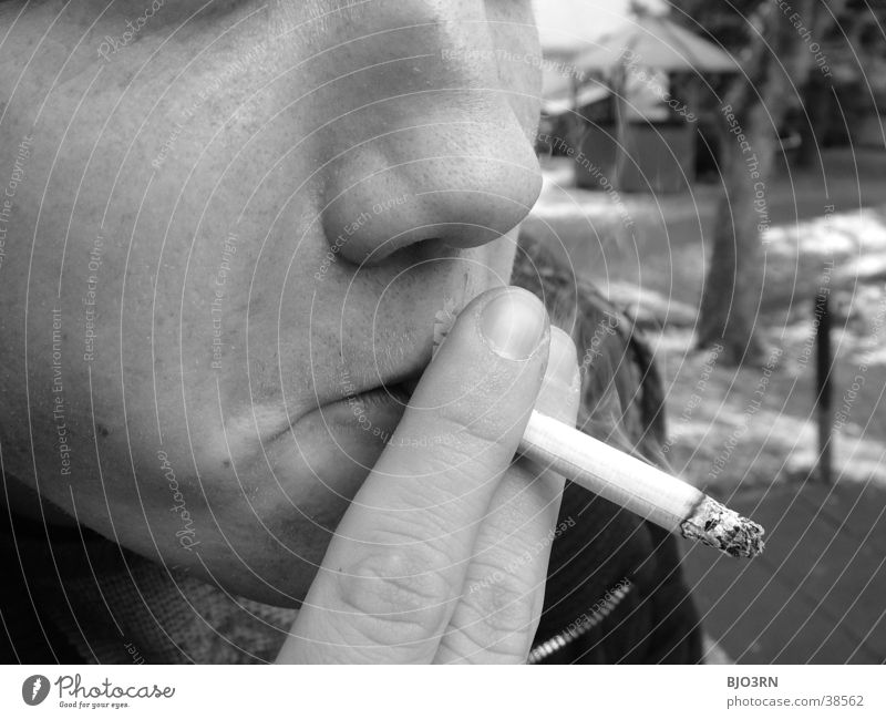 cigarette Cigarette Fingers Fellow Hand Man Human being Smoking Ashes Guy draw Face Nose