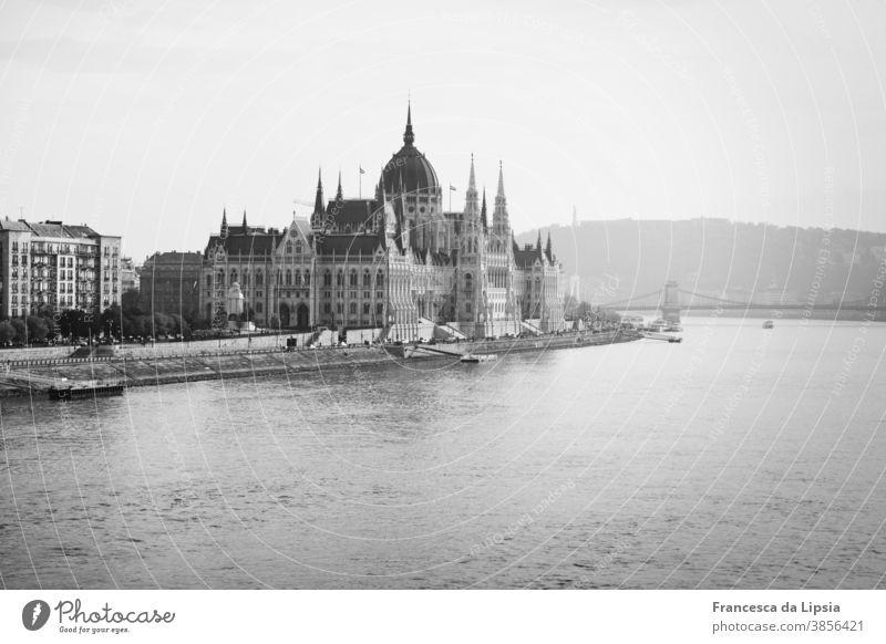 Parliament of Budapest Hungary Black & white photo Tourist Attraction Town Exterior shot Architecture Capital city Danube Landmark Historic River Europe