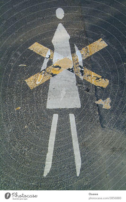wife, crossdressing Street Woman Asphalt symbol Pictogram Crucifix X crossed out Image Colour Black White Yellow Orange Head Legs Arm Dress Lane markings Sexism