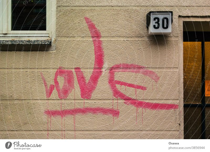 Love 30 House (Residential Structure) Building Facade Window Graffiti Architecture Manmade structures Deserted Exterior shot Town Wall (building) masonry Text