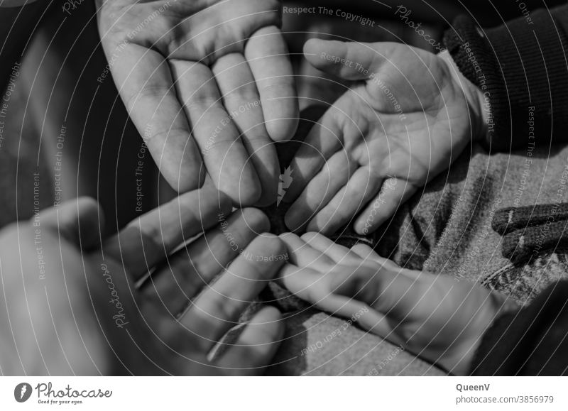 Hands of mum, dad and child in black and white hands Black & white photo Family & Relations Only child Infancy Memory Nostalgia Emotions family album Legacy