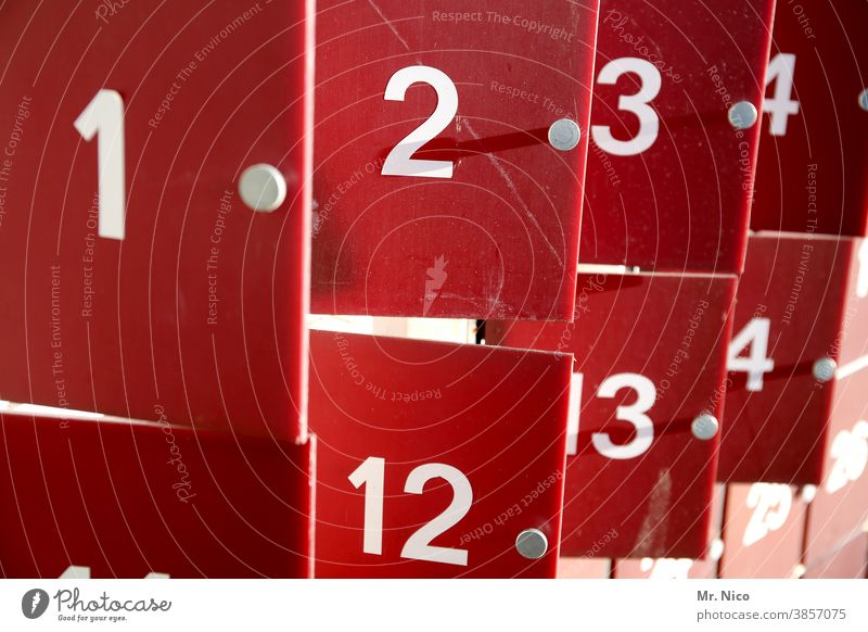 Number series Numbers Digits and numbers Red Close-up White open a door Advent Calendar Lockbox Open valuables Safety Keep Classification Custody