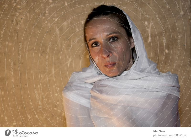 barely shrouded Headscarf White Cloth Rag Face Feminine portrait Authentic Looking into the camera naturally Upper body Pure Calm Longing Uniqueness Intensive