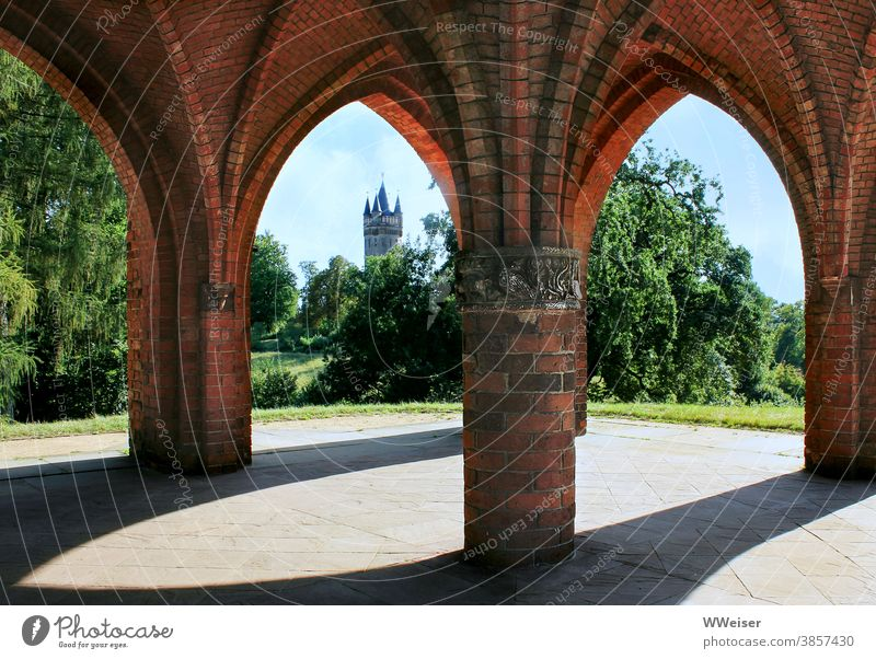 In this park there are many historical buildings Babelsberg outlook tepid Courthouselaube Tower Flatow Tower trees Green Summer Vista warm Hiking stroll Potsdam