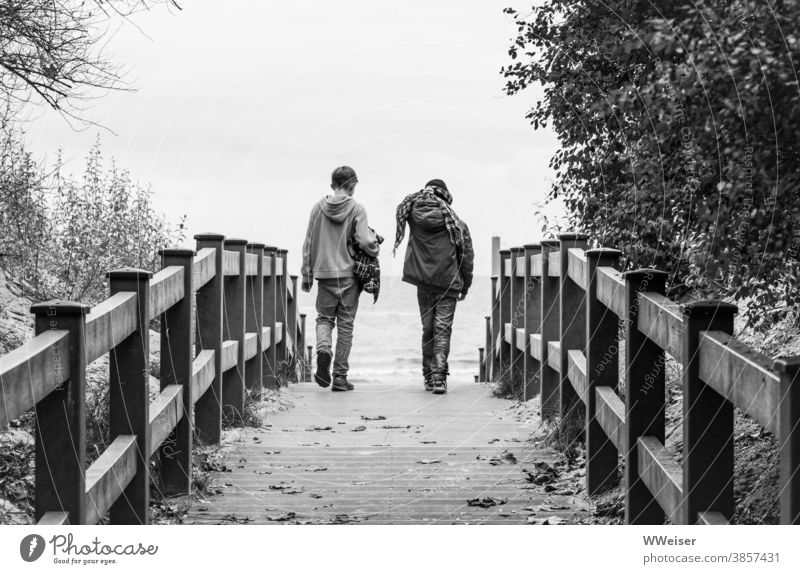 Two friends set off for a walk on the beach, armed against all weather Guys children Youth (Young adults) Beach duene beach emergence Wind Rain Weather Autumn