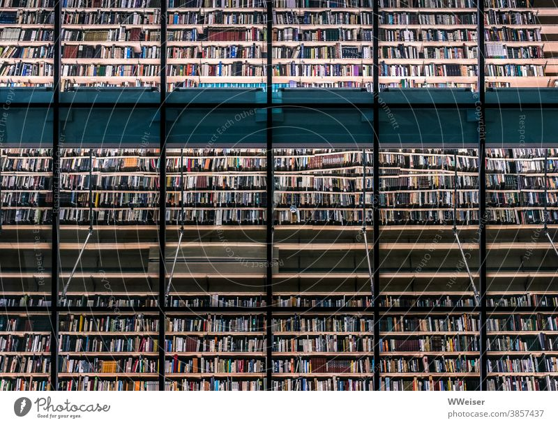A wall of thousands of books in a library Library Wall (building) Many reflection Eegale Glass quantity Riga Latvia National library Reading reading Art