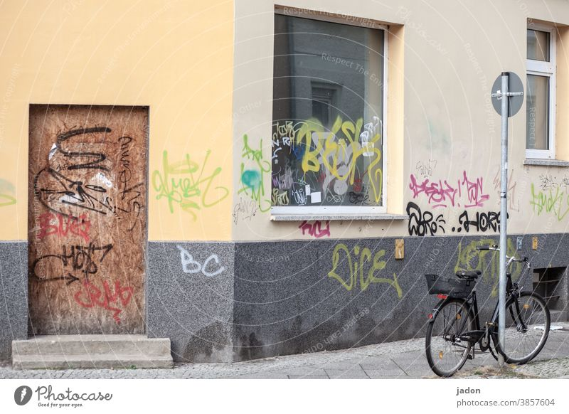 still life with bicycle, traffic sign, windows and door (locked). Window Bicycle Graffiti Exterior shot Illustration Wall (barrier) Wall (building)
