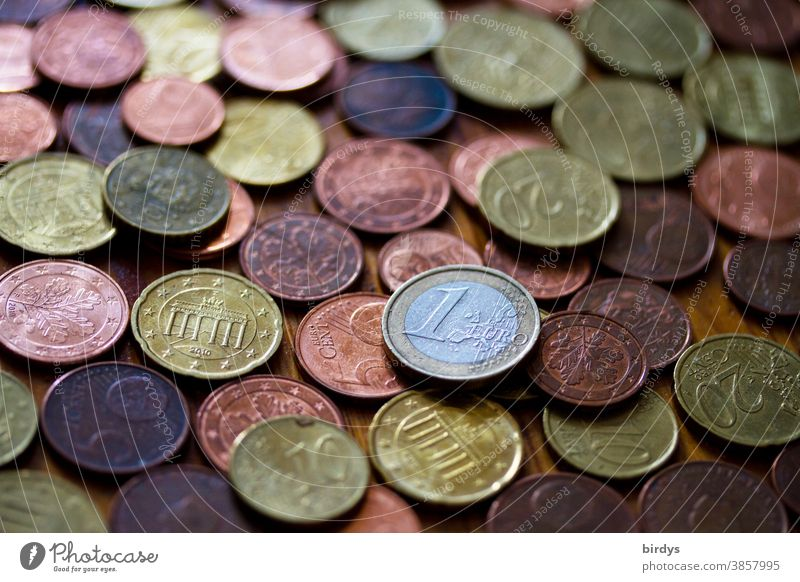 many Euro - cents and one 1 Euro - coin. format filling Money euro cents Coins Coinage small change Hard cash full-frame image Shallow depth of field Many Cent