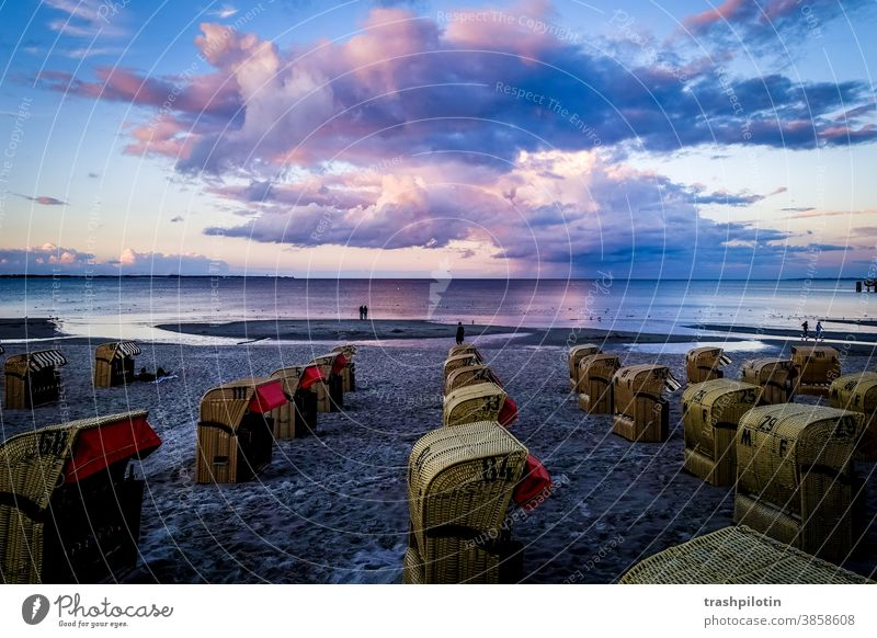 Sunset over the Baltic Sea Clouds Cloud formation Baltic coast dab protection beach chairs Beach Ocean Sky Tourism Deserted Schleswig-Holstein vacation