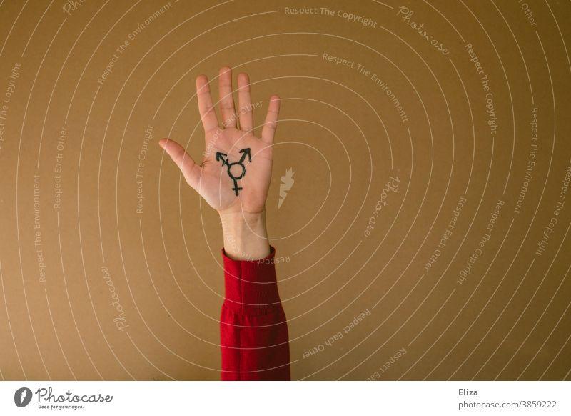 A hand held up with the transgender symbol against a neutral background Transgender Transgender symbol variety Sexuality Freedom Equality LGBTQ pride Gender