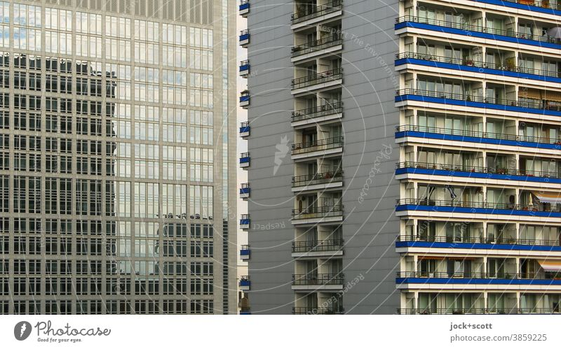 Living more beautifully in the mirror of our time Prefab construction Reflection Facade Architecture Gloomy Downtown Berlin Balcony Window Central perspective