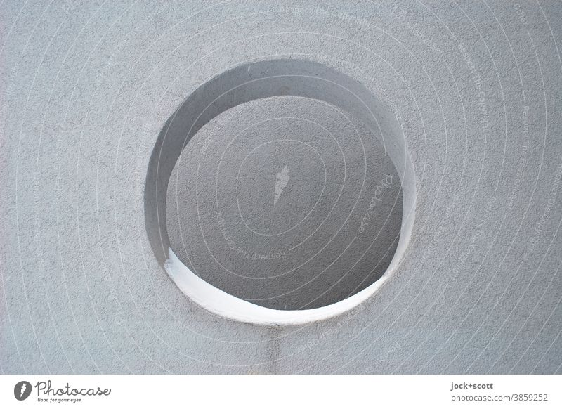 big hole in the wall Modern architecture Wall (building) Facade Thorough Shadow Hollow Geometry Structures and shapes Round Circle Snow Plaster Abstract