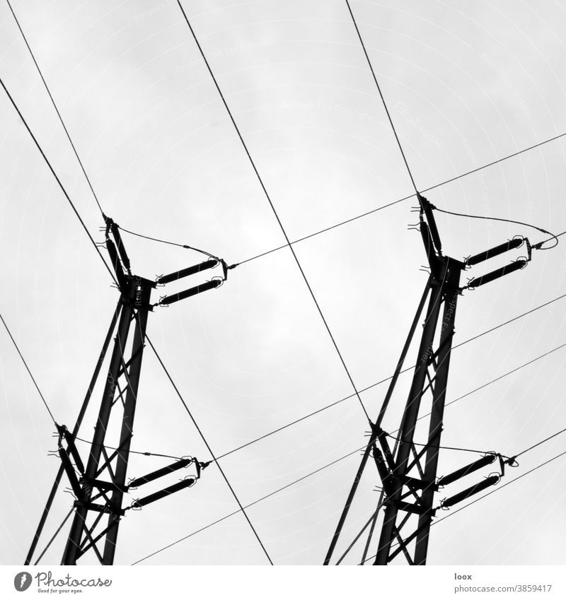 4eyes | twin spin Electricity pylon two Silhouette Energy Energy industry power supply Tower Transmission lines Tall Force