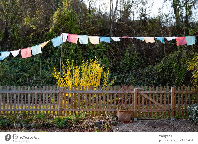 Prayer Flags Multicultural multicultural allotment allot settlement flags Garden variegated motley Spirituality Fence