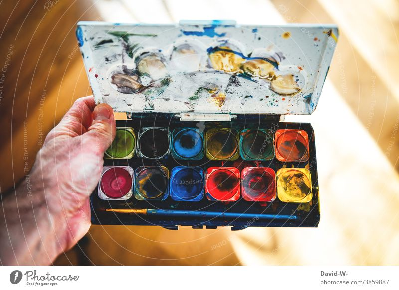 Watercolour box - artists and bright colours Watercolor variegated watercolour box Creativity Art manner Painting (action, artwork) colourful Paintbrush Colour