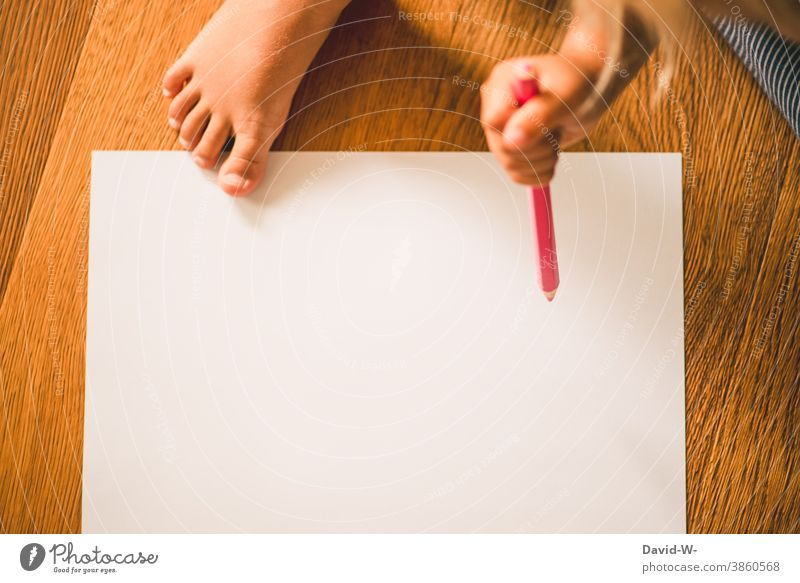 Child paints with a crayon on a white sheet of paper Painting (action, artwork) Paper Creativity Infancy Parenting Independence Kindergarten Toddler Education