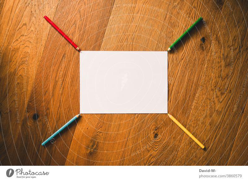 Pens and a blank sheet of paper make a pattern pens crayons Pattern Paper Piece of paper Placeholder School Art Creativity