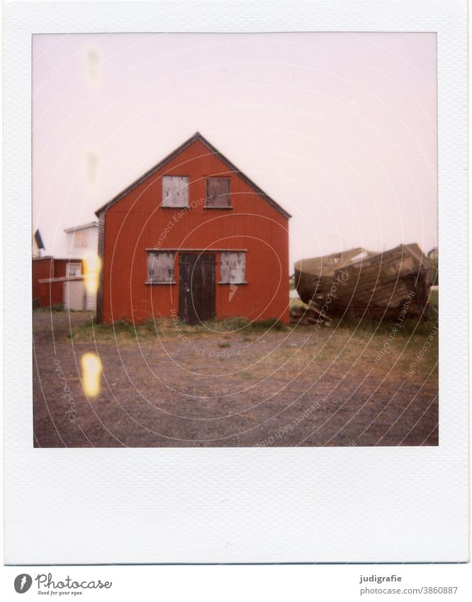 Icelandic house on Polaroid House (Residential Structure) Hut dwell Window Meadow Exterior shot Building Loneliness Living or residing Colour photo Deserted