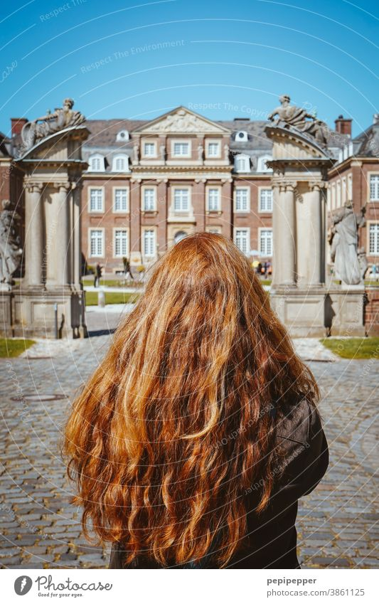 Young woman in front of a castle Woman red hair Hair and hairstyles Human being Adults pretty Summer Beauty Photography long hairs Red-haired Model Lock
