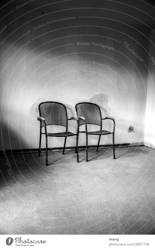 Art on the building | noble design in black and white and put in the right light Armchair chairs Seating two Construction site Furniture Empty Loneliness Calm
