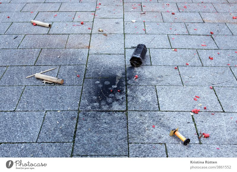 the leftovers from new year's eve New Year New Year's Eve Firecracker remnants filth Trash firecracker missiles firecrackers burnt Burnt New Year's Day