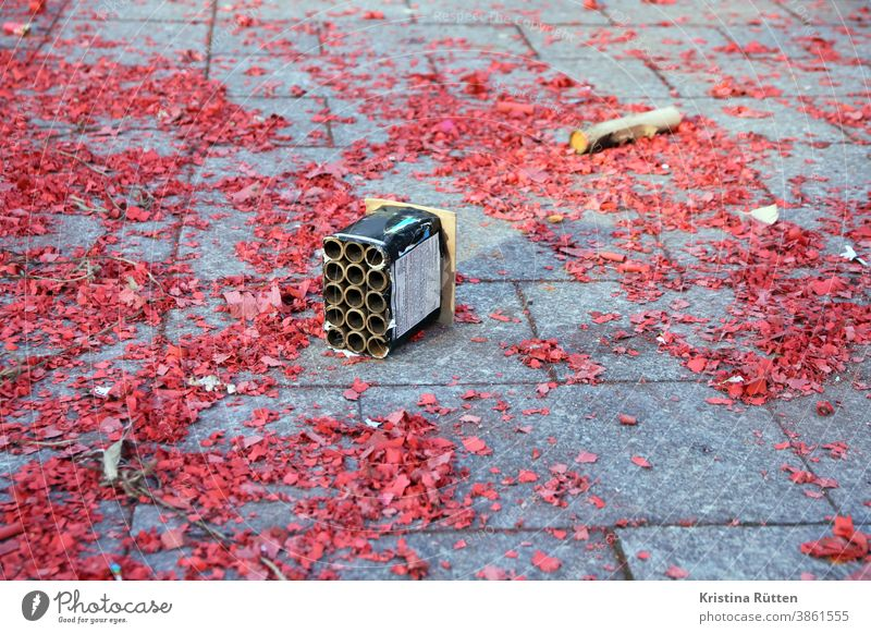 böllerreste on new year's day New Year New Year's Eve Firecracker remnants filth Trash firecracker missiles firecrackers burnt Burnt New Year's Day