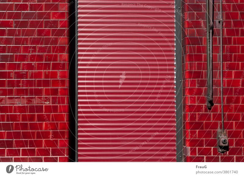conform | in red Wall (building) Building House (Residential Structure) Facade Cladding clinker door Venetian blinds Roller shutter Protection Closed Red