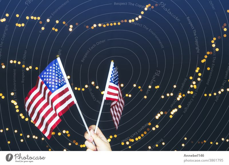 USA flag, red white and blue with sparkling yellow bokeh background, Copy space, space for text. colorful design American concept usa independence america