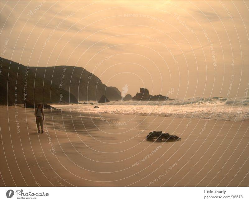 Human being Ocean Beach Waves Rock Cliff Atlantic Ocean