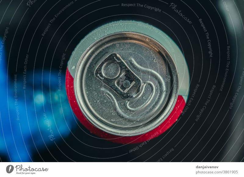 Aluminium can. Upper part of a beer can. View from above Alcoholic drinks background Beer Black Tin Close-up Cold Container Drinking Empty Isolated macro Metal