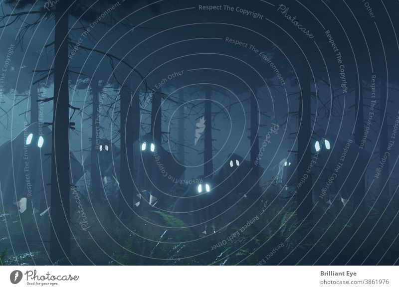 dark forest surrounded by flying ghosts with shining eyes Fog rendering Nature Mysterious Moon ghostly Autumn Spook Atmosphere 3D Nightmare Soul Frightening