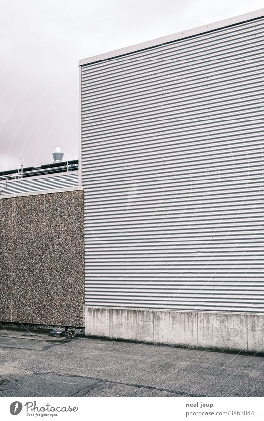 Facade of a warehouse - corrugated sheet metal Building Industry Warehouse Harbour Gray Gloomy Wall (barrier) on the outside Dismissive Wall (building) Storage