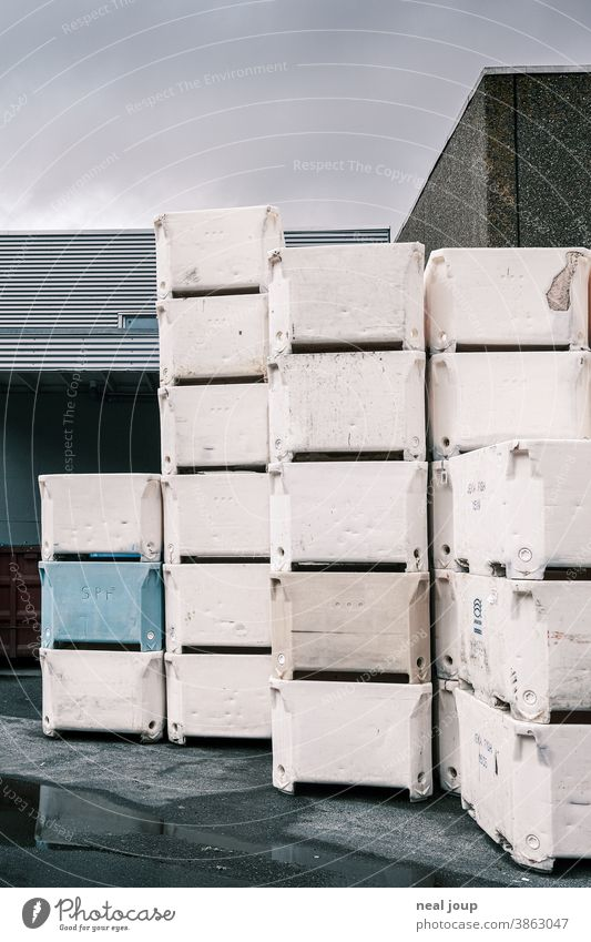 Stacked polystyrene boxes in the warehouse at the port Harbour fishing Industry Warehouse bins Crate Styrofoam White Blue Gray Exterior shot Logistics Economy