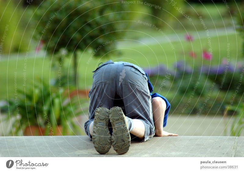 Child Green Loneliness Playing Garden Dangerous Bottom Under Duesseldorf Slope Sunday Footstep