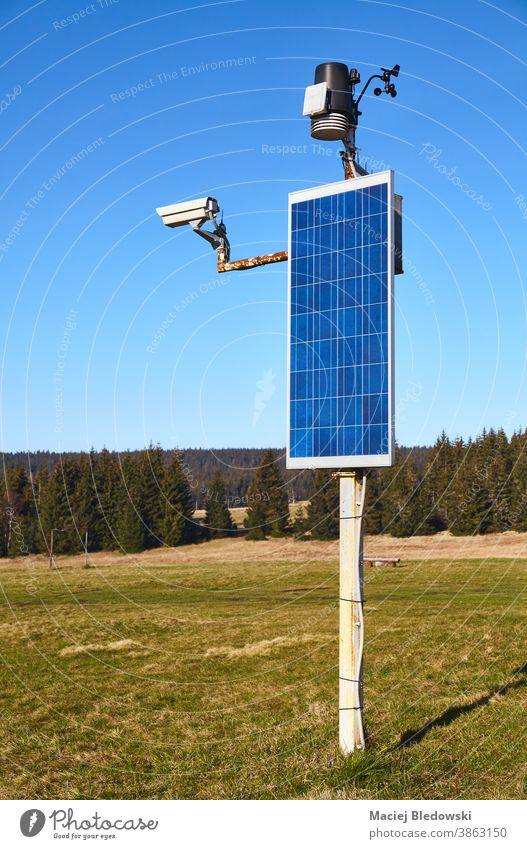 Solar powered weather station and CCTV camera in remote rural location. solar wind monitoring measure speed meteorology instrument temperature sensor sky nature