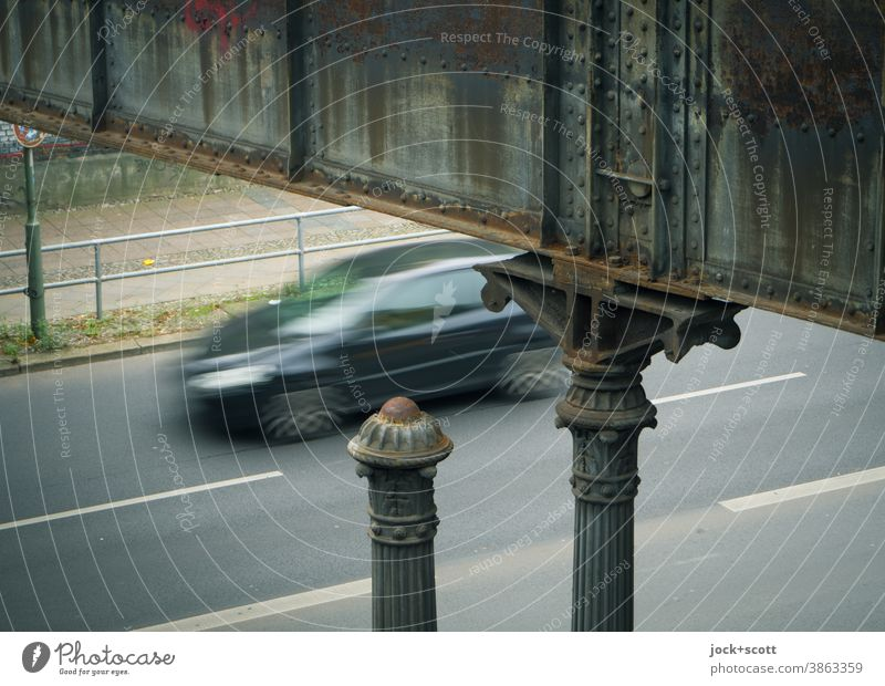 past the good old days by car Bridge Architecture Street motion blur Traffic infrastructure Road traffic Hart's column Weathered Column Nostalgia