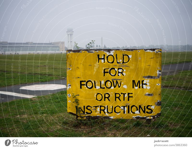 Follow me in the fog as instructed Airport Tempelhof Field tempelhofer freedom Signs and labeling Assignment Ravages of time Panorama (View) foggy