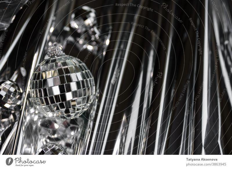 Christmas disco mirror ball party reflection shiny light bright shine disco ball sparkle sphere abstract retro spotlight celebration festive holiday glistering