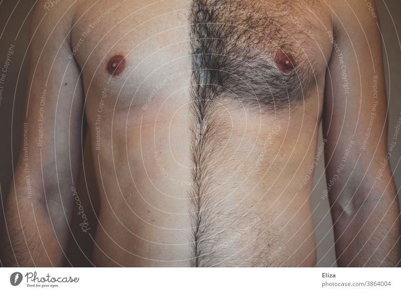 Male breast, one half shaved and the other half hairy. Shave Hair Man Chest Indecisive Half Shaving body hair Personal hygiene Masculine masculine chest hair