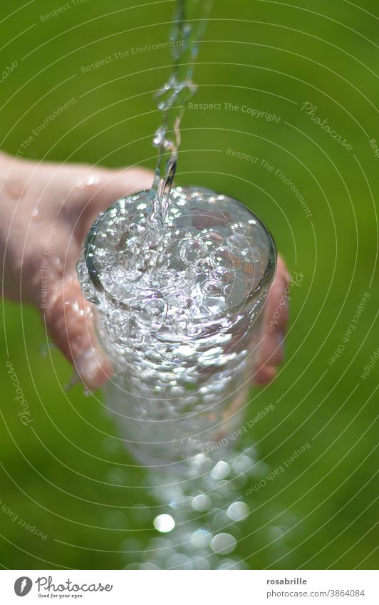 Recommendation | drink enough water daily Water gush Glass Flow Drinking water neat Pour pour abundance overflow fizz Hand Grass Green received Spill Source