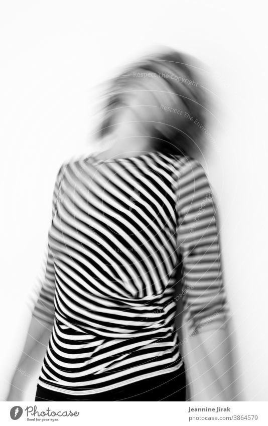 Woman going crazy in striped and black and white Striped Go crazy Fear Panic havoc Distress Grief on one's own Emotions Helpless corona crisis